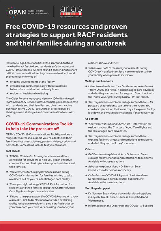 Free COVID-19 resources and proven strategies to support RACF residents and their families during an outbreak