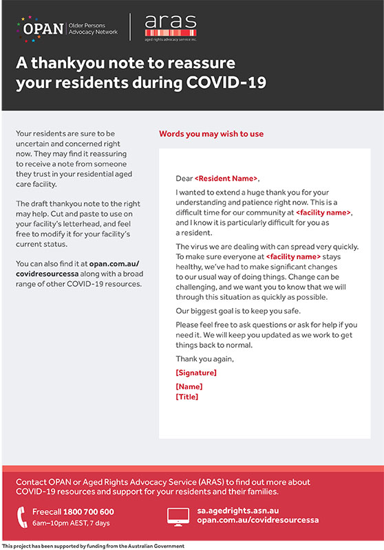 A thankyou note to reassure your residents during COVID-19